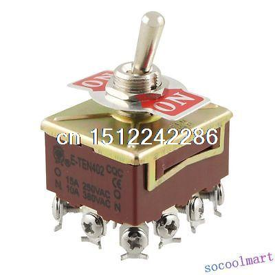 2pcs AC 15A/250V 10A/380V 12 Screw Terminals On/On 4PDT Toggle Switch image