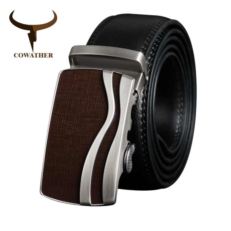 COWATHER Men Belt Cow Genuine Leather Male Strap Cowhide Belts for Men Alloy Buckle Newest Arrival Fashion Design Male Waistband