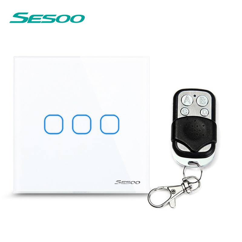 EU/UK Standard SESOO 3 Gang 1 Way Wireless Remote Control Light Switches,LED Light Switch Wall Light Touch Switch For Smart Home eu uk standard sesoo remote control switch 3 gang 1 way wireless remote control wall touch switch light switch for smart home