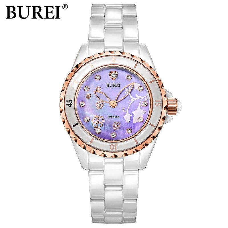 Women Watch BUREI Top Brand Casual Fashion Female Ceramic Diamonds Gold Quartz Wristwatch ladies dress watch female clock hours burei imported movement casual women quartz watch