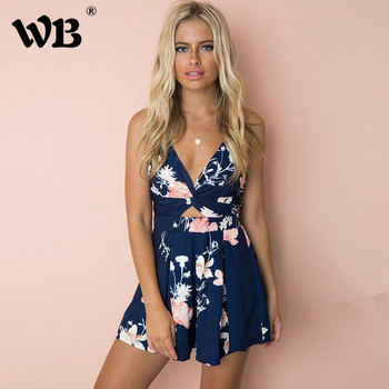 Sexy Women 2018 Summer Sexy Strapless Casual Romper Female Blue Floral Print Sleeveless backless Boho Beach Short Jumpsuit