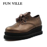 FUN VILLE 2018 New Style Women Flats Spring Summer Brown Flat Platform Casual Shoes Round Toe