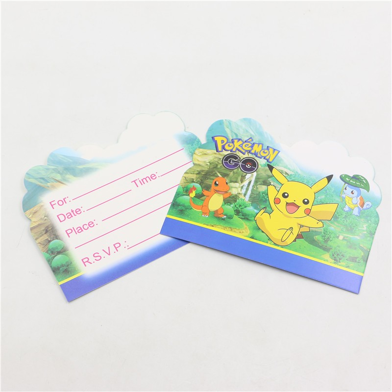 10pcs Baby Shower Pokemon go Cartoon Decoration Kids Favors Disposable Pikachu Paper Invitation Cards Birthday Party Supplies