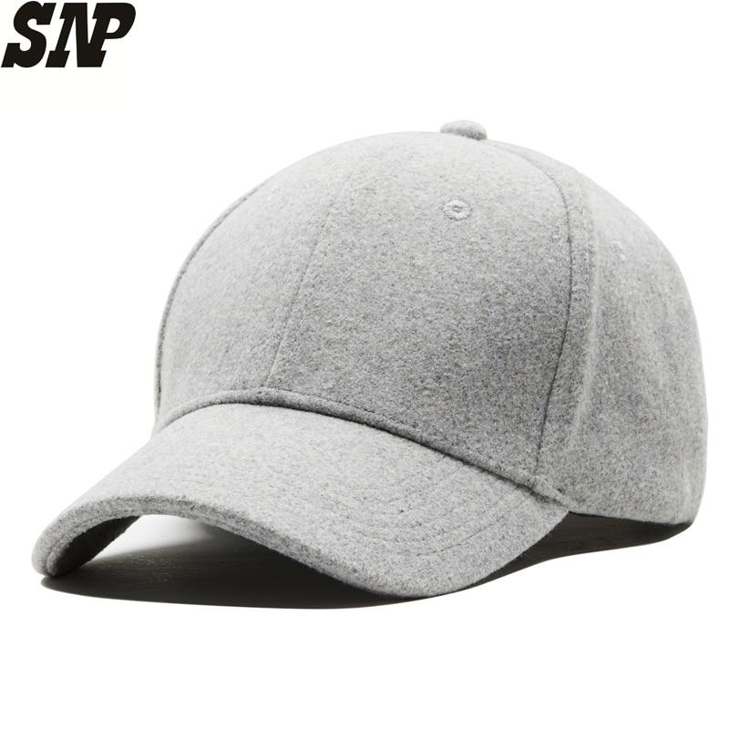 Mens And Women's Winter Wool   Baseball     Caps   Sanpback Women Hats Men Winter Keep Warm   Baseball     Caps   Adjustable 55-60CM