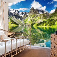 Custom Photo Wall Mural Wallpaper 3d Luxury Quality HD Snow Mountain Lake Mountains Natural Style Large