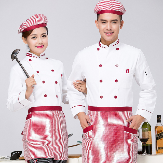 kitchen wear stainless steel carts hotel chef clothing long sleeved uniforms work clothes autumn winter restaurant cafe chinese overall j053