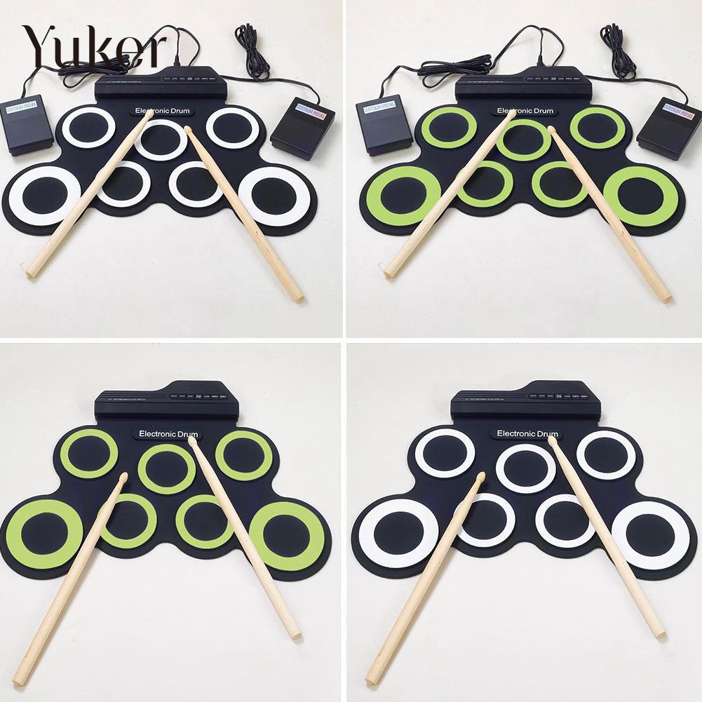 все цены на Professional 7 Pad USB Silicone Roll Up Foldable Musical Electronic Drum W/Stick онлайн