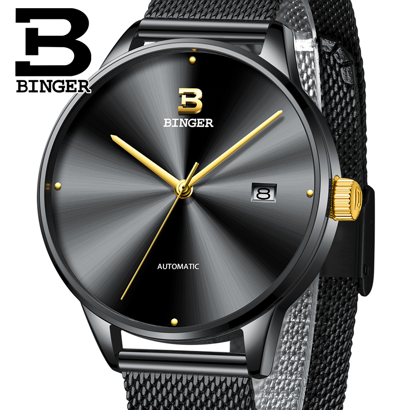 Mechanical Watches Men Top Luxury Brand BINGER Watch Ultra-thin Sports Automatic Watches Sapphire Waterproof Men Watch Relogio title=