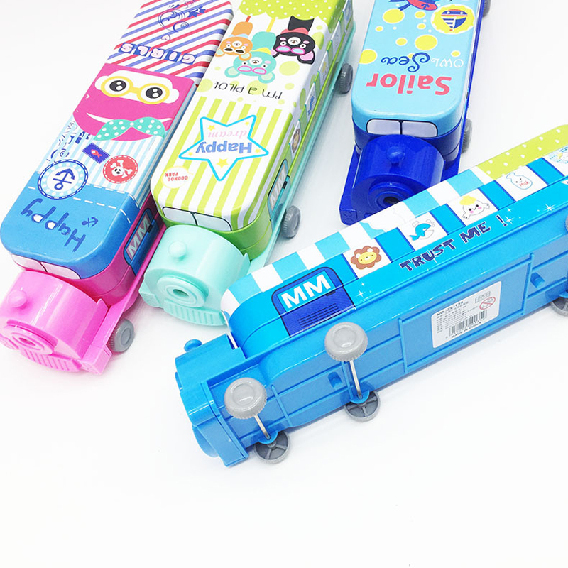Creative Metal Pencil Case Train Shape Double Layers Pen Box With Pencil Sharpener Novelty School Supply Stationery Storage Bag big capacity high quality canvas shark double layers pen pencil holder makeup case bag for school student with combination coded lock