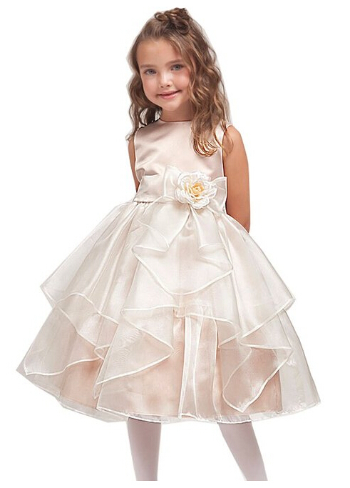 ФОТО vintage 2015 Hot A -line and knee- length tutu ball flower girl dresses for weddings party dress layered folds gowns