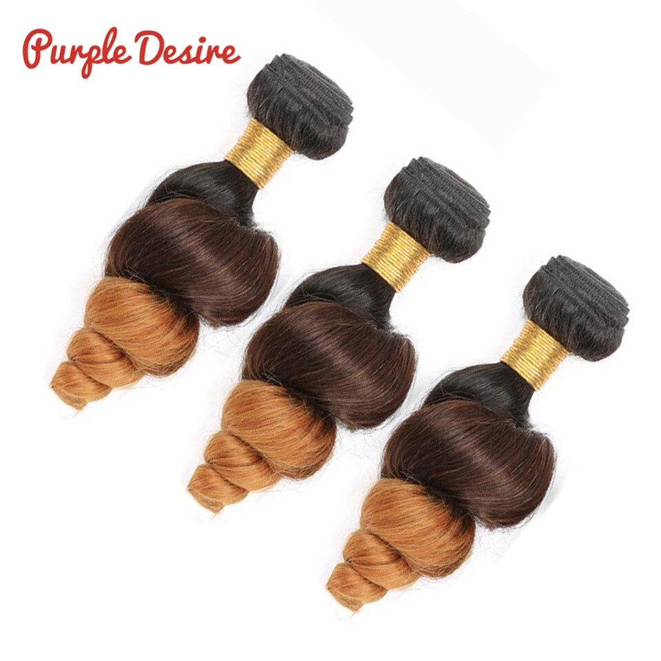 Purple Desire Ombre Hair Bundles Loose Wave Human Hair Ombre Brazilian Hair Weave T1B430 3 Tone Color Remy Hair Extensions (4)