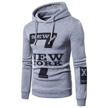 2018 Código europeo Comercio exterior caliente de los hombres estampado informal con letras suéter con capucha streetwear sudadera de gran tamaño de los hombres Nueva YORK
