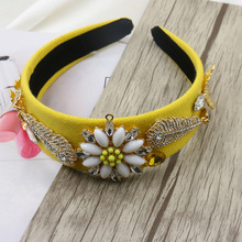 2016Occident New Fashion Catwalk gold leaves Rhinestone Flower Crown Baroque Prom Hair Band Women Hair Jewelry