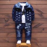 Newborn Denium Signle Breasted 3Pcs Set Coat T Shirt Jeans Bebes Baby Boy Newborn Baby Clothes