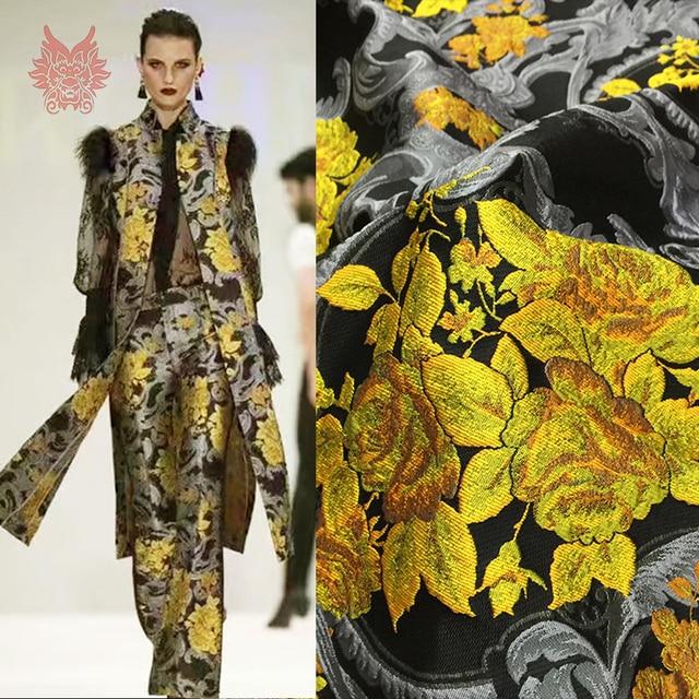 ZENGIA 90X145 см роскошные серый желтый тиснением цветочные жаккардовые парчи ткань для платья пальто парчи Tissu Tela Tecido