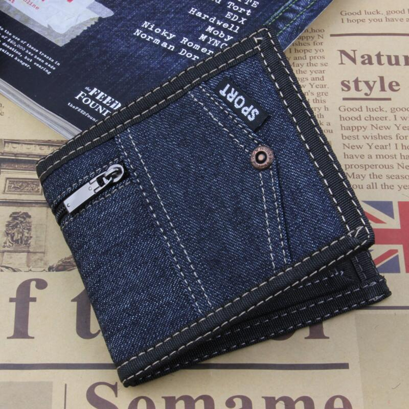 Classic Style Wallet Blue Canves Zipper Men Wallets Short Male Purse Card Holder Wallet  ...
