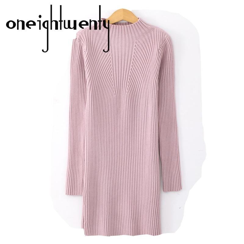 купить Fashion Long Sleeve Turtleneck Sexy Club Women Dress Slim Bodycon Knitted Sweater Party Night Dresses 0.41 недорого