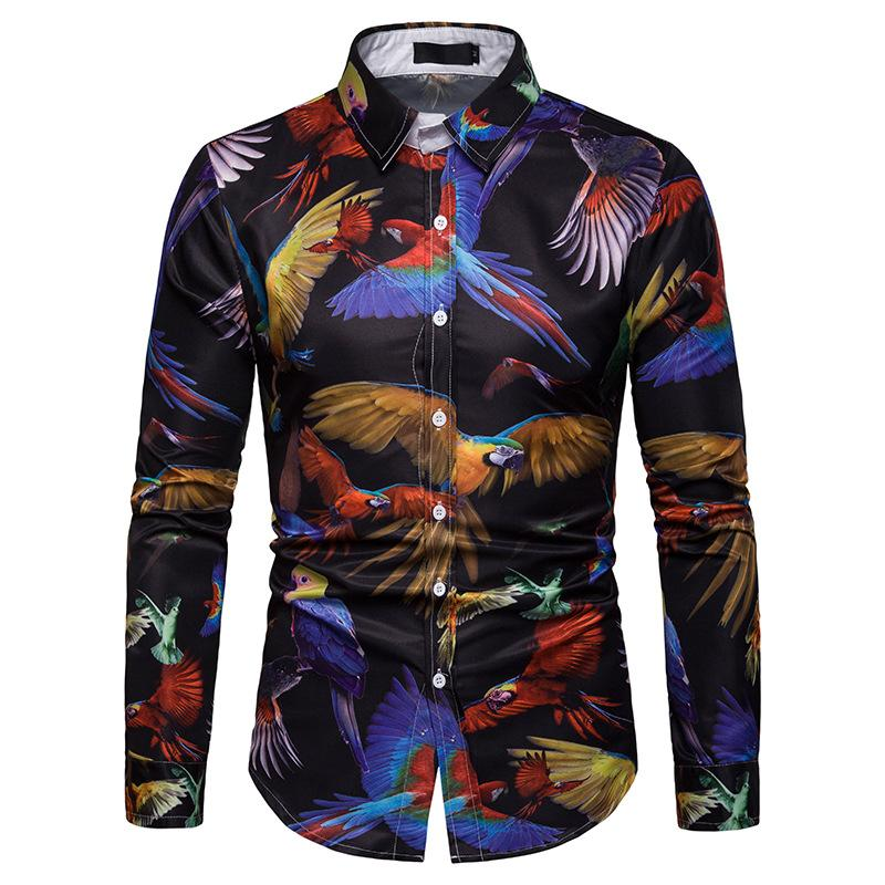 Parrot Print New model Shirts Casual Long sleeve Hawaiian Fashion Blouse Men Summer