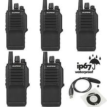 5 unids x BF-9700 Baofeng UHF 400-520 MHz Jamón Radio de Dos vías 5 W IP67 A Prueba de agua Potable Walkie Talkie con Cable de Programación y CD