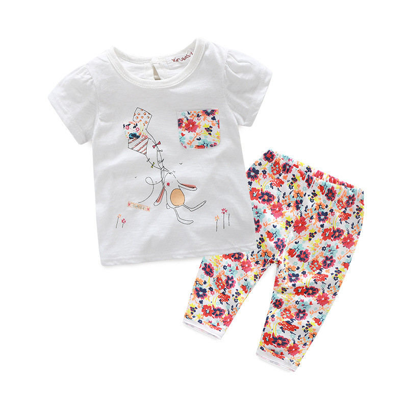 Hot New 2016 Baby Girls Sets Casual Paragraph Printed Flowers Short-sleeved T-shirts +Pants = Suits Infait Toddler Clothes ёршик для туалета tatkraft mega lock