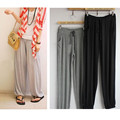 2017 Summer Style Casual Elastic Waist Women Pants Solid Color Drawstring Full Length Plus Size Lycra Harem  Pants