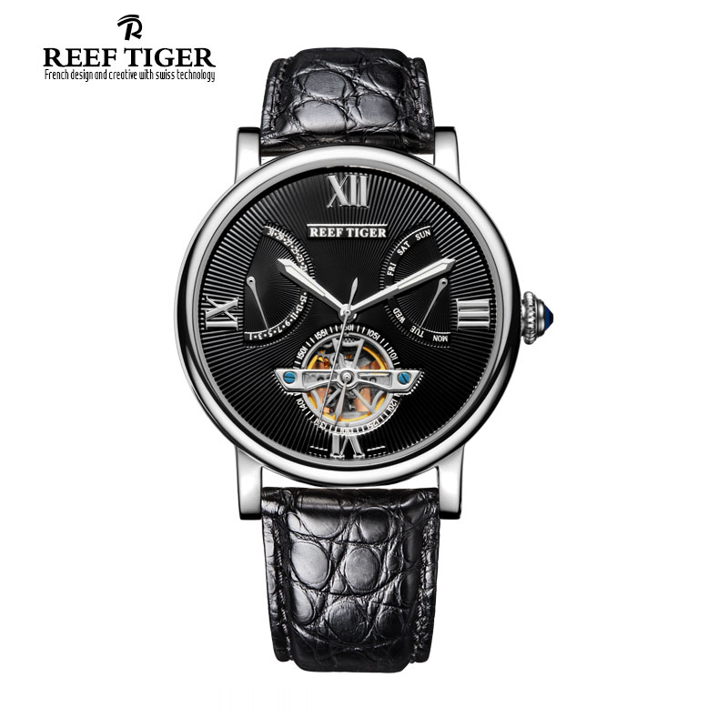 Reef Tiger/RT Tourbillon Automatic Watches with Date Day Steel Alligator Strap Designer Casual Watch for Men RGA191 reef tiger designer fashion diamonds automatic watch with white mop dial steel watches for women rga1550