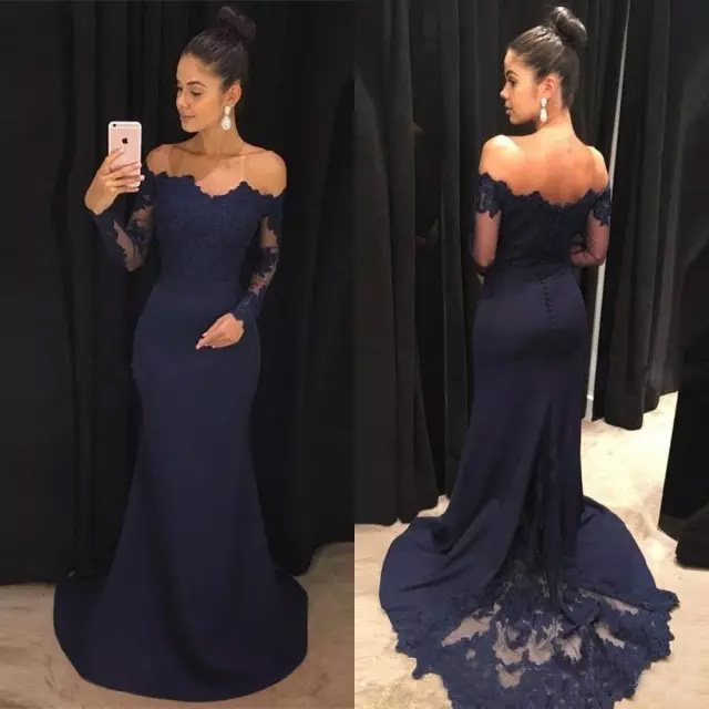 Bleu marine 2018 robes de soirée sirène dentelle manches longues robes de bal hors de l'épaule balayage Train robe formelle robes de soirée