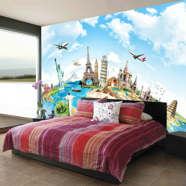 World Famous Buildings Photo Wallpaper Custom Eiffel Tower Statue Of Liberty Wall Murals