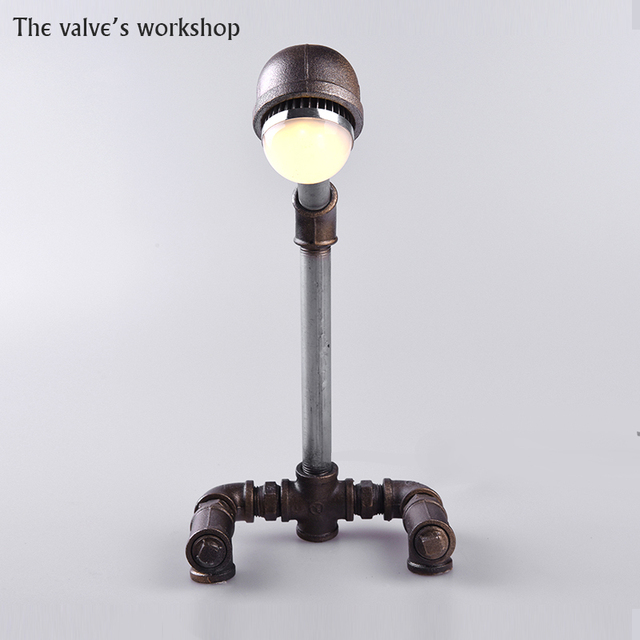 HOT Luxury Retro Loft Style Antique Vintage Desk Table Wrought Iron Pipe  Lamp Decorate Lamp DIY