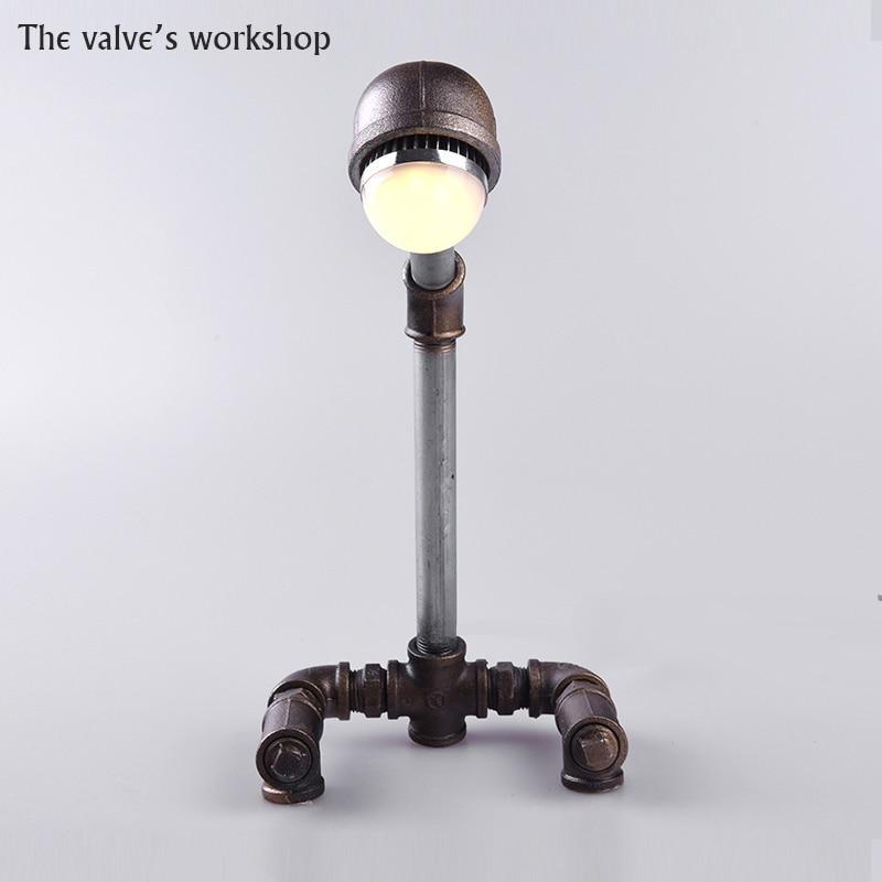 HOT Luxury Retro Loft Style Antique Vintage Desk Table Wrought iron pipe lamp Decorate Lamp DIY Handmade For Loft Cafe Bar-B006