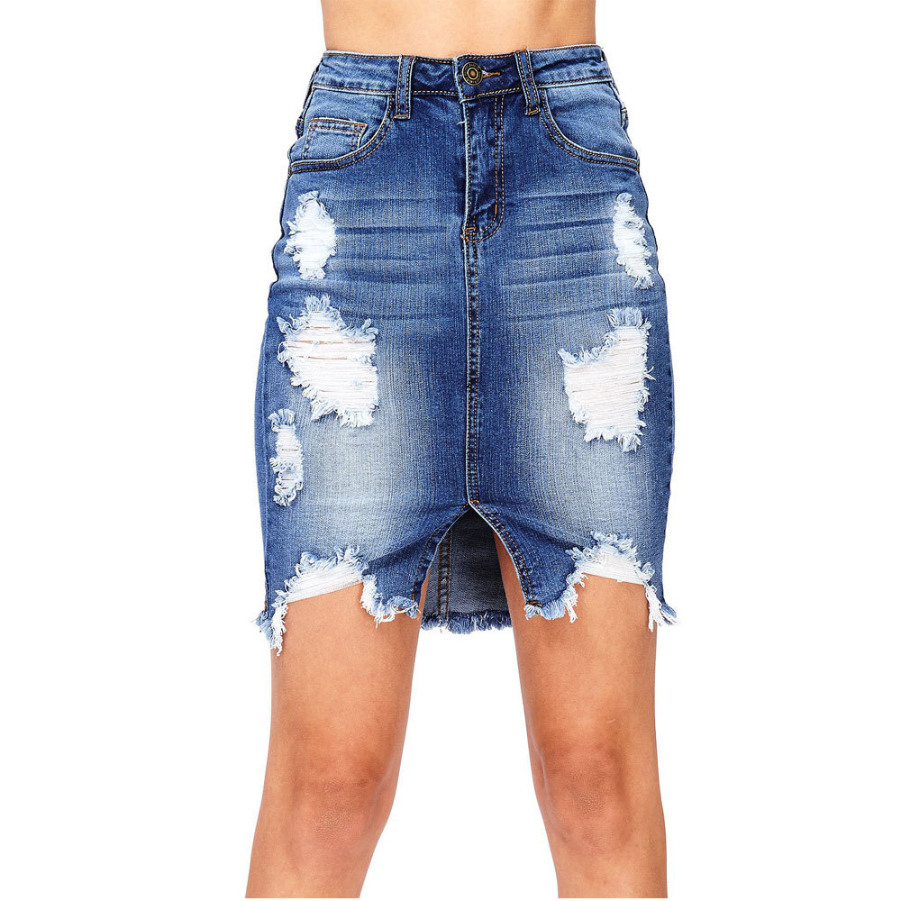 Summer new hot fashion personality high waist skirt skirt fringed hollow hips slim sexy female denim skirt