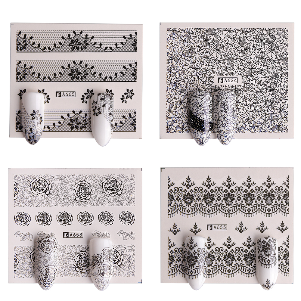 40 Sheet/lot Nail Art Water Transfer Black Flowers Stickers For Nail Lace Tips Nail Art Decorations Foil Set SAA625-672 4