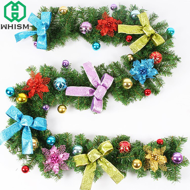 WHISM 2.7m Green Christmas Garland Xmas Rattan Pine Tree Wreath Christmas Tree Decorations New Year Hanging Ornaments For Home