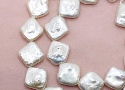 """Wan 00294 12 mét tự nhiên hình vuông màu trắng ngọc trai nước ngọt loose hạt đá quý 15 """"dài"""
