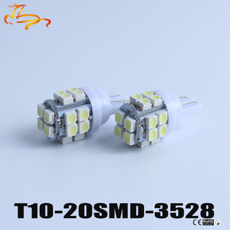 <font><b>100x</b></font> <font><b>T10</b></font> 194 168 W5W 20smd 1210 3528 LED Auto Car Marker Lamps Side Wedge License Plate Light Bulbs White DC12V #LB66 image