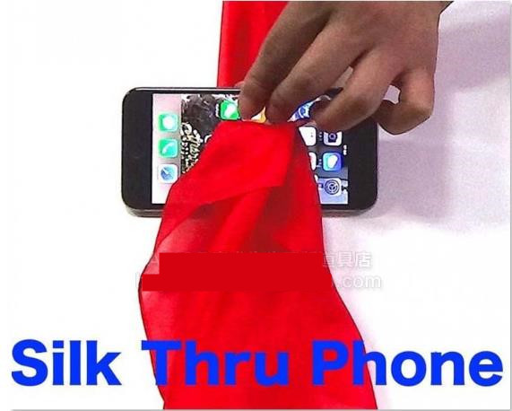 Free shipping 2016 New Silk Thru Phone - Magic tricks,close-up magic,street magic,props,Illusion,Fun,mentalism