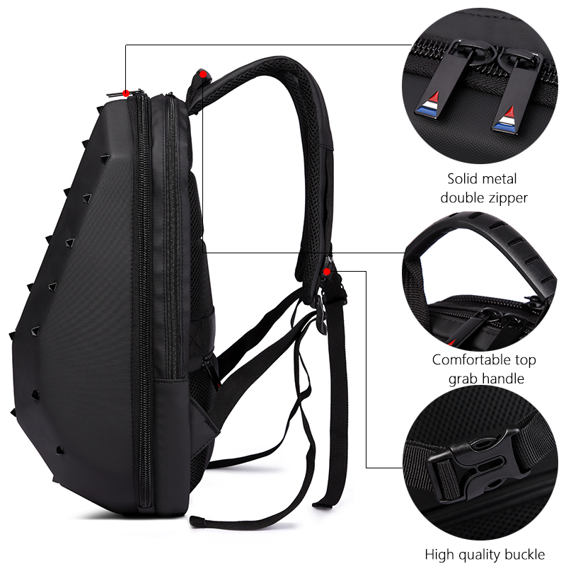 Creative Waterproof 15 6inch Laptop Fashion Backpack Rivet Backpacks School Bag For Teenager Travel Bag For Women Mochila in Backpacks from Luggage Bags