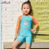Two piece Long Sleeve Swimwear UPF50+ Blue/Orange 90 145cm Kids Bating Suit Sun UV Protection Kids Swimsuits Girl's