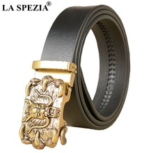 LA SPEZIA Real Leather Belt Men Gold Dragon Buckle Belt Automatic Cowhide Novelty Chinese Designer Male Belts Genuine Leather цена и фото