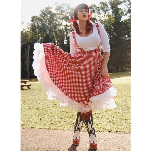 a4acfcf1eaf 20- women vintage 50s bow swing suspender red white gingham circle skirt  rockabilly pinup skirts plus size overalls saias jupe