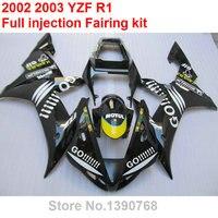 Литьем под давлением обтекатель комплект для Yamaha YZF R1 2002 2003 черный кузов обтекатели комплект YZFR1 02 03 BV03