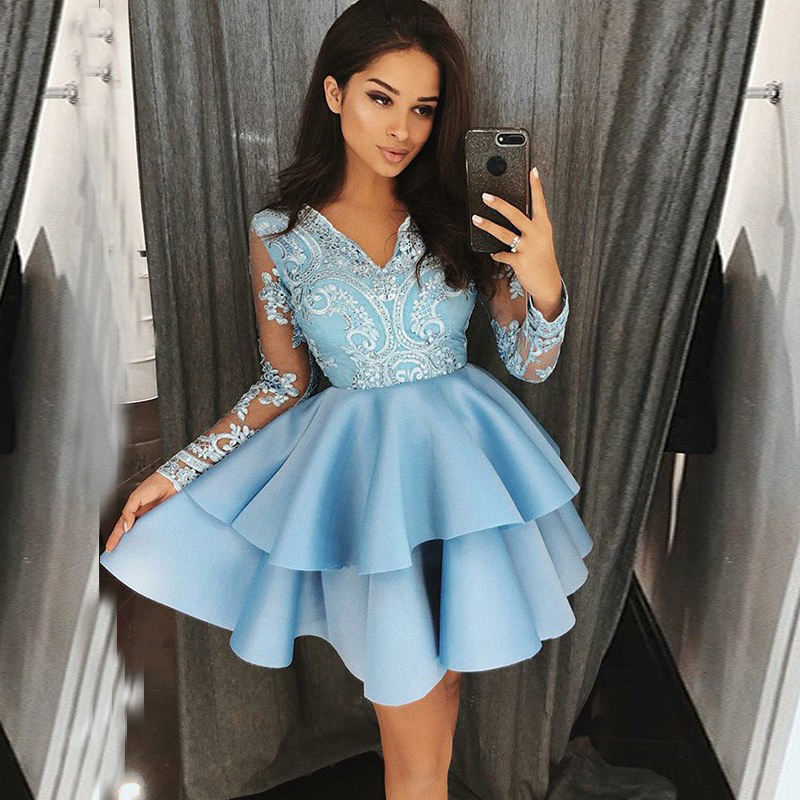 Sexy Homecoming Dresses 2019 Short Appliques Satin Homecoming Dresses For Girl Long Sleeve Simple Applique Graduation Prom Dress