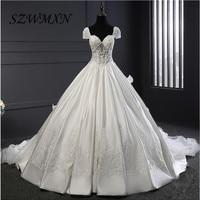 Sexy Sweetheart Ball Gown Wedding Dress Cap maniche Cappella Treno Ruffles Abiti Da Sposa lungo A File backless robe de mariage