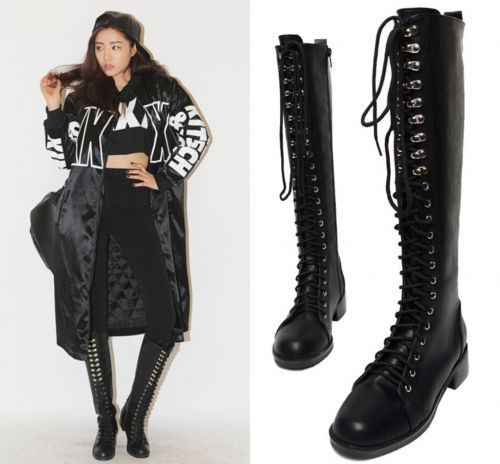 26fb8f7e634 Womens Knee High Lace Up Fashion Military Combat Boots Studded Motorcycle  Shoes