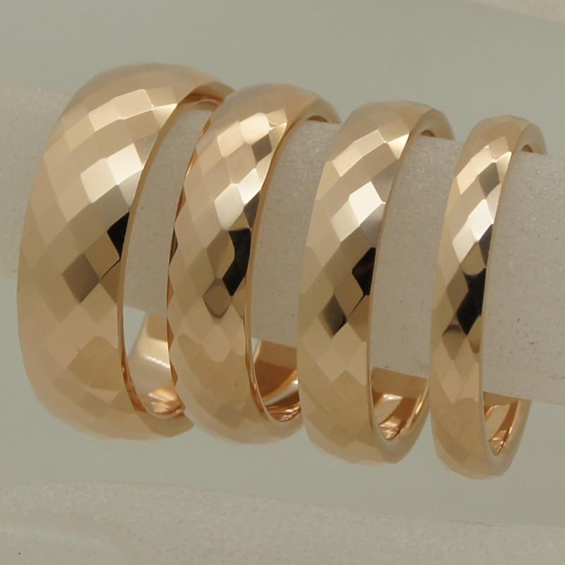 4mm width rare women/girl rose gold plating multi facet tungsten ring size 2-ring size 9
