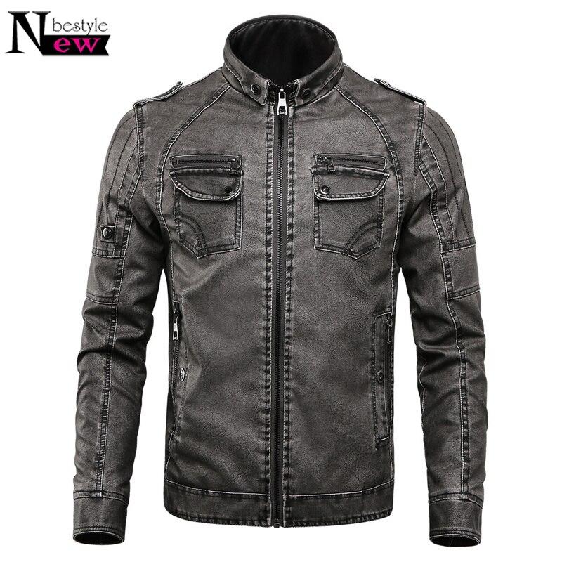 Mens Leather Jacket Men 2019 Classic Motorcycle Bike Cowboy Jackets Fur Coat Men Leather Jacket Faux Leather Velvet Thick Coats