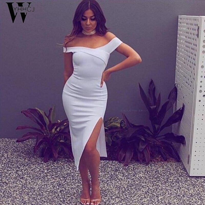 WYHHCJ 2017 sexet off skulder sommer kjole mode Side Slit fest - Dametøj - Foto 3