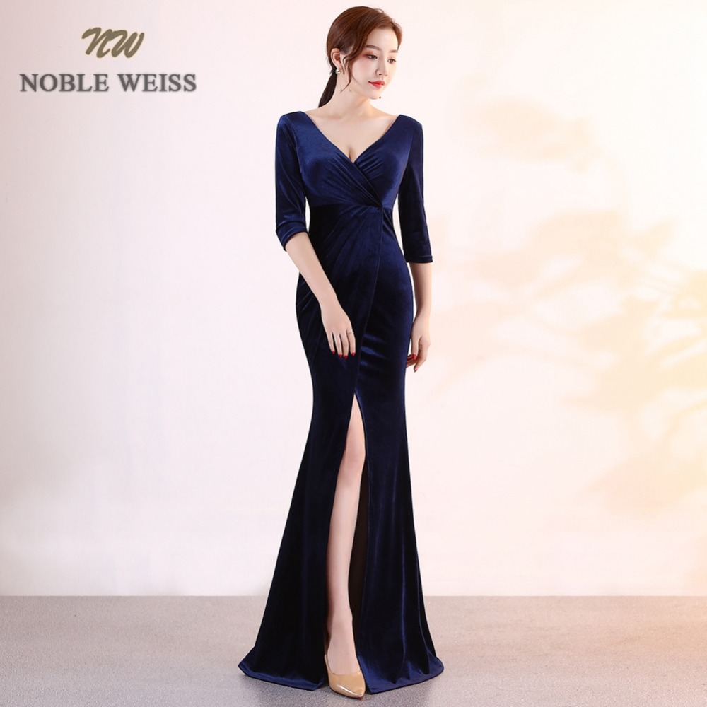 prom dresses long black mermaid prom dress v-neck velour vestidos de festa longo sexy split evening gown with sleeves