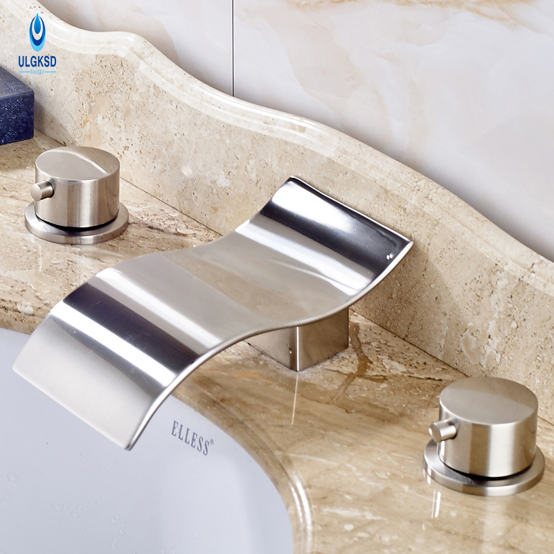 Ulgksd Basin Sink Faucet Brushed Nickle Waterfall Deck Mounted Bathroom Faucet With Mixter Water Taps