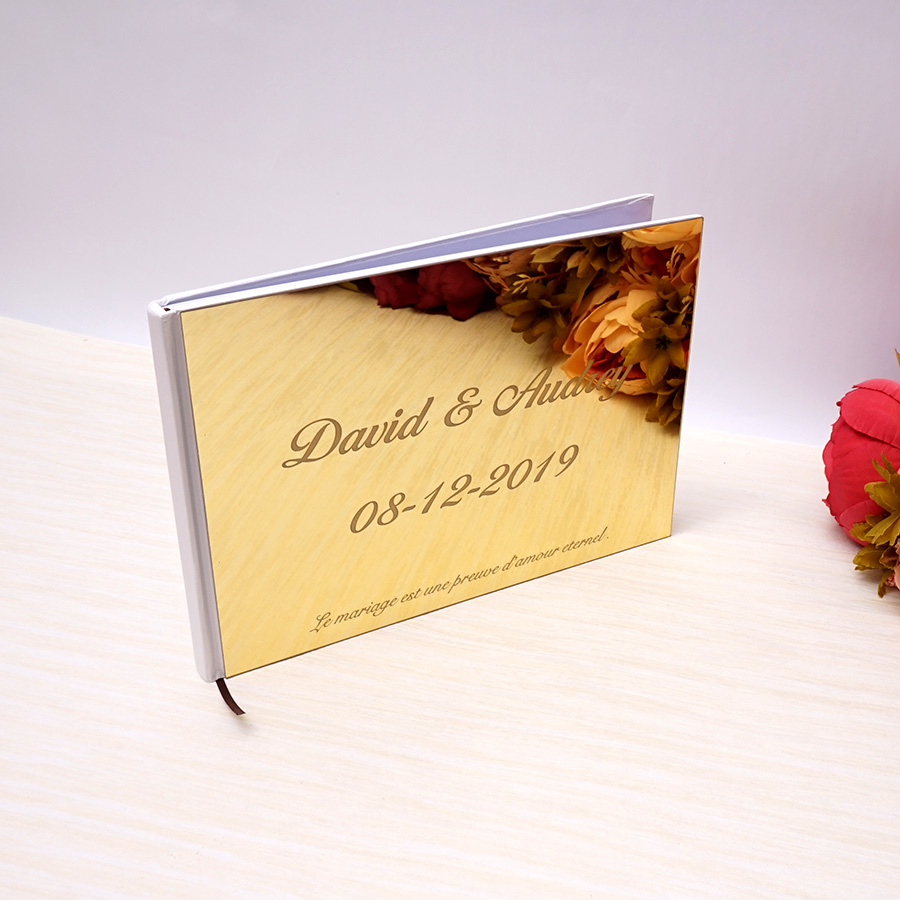 Personalized 25x18cm Wedding Custom Signature Guest Book Acrylic Mirror White Blank Party Favors Photo Album